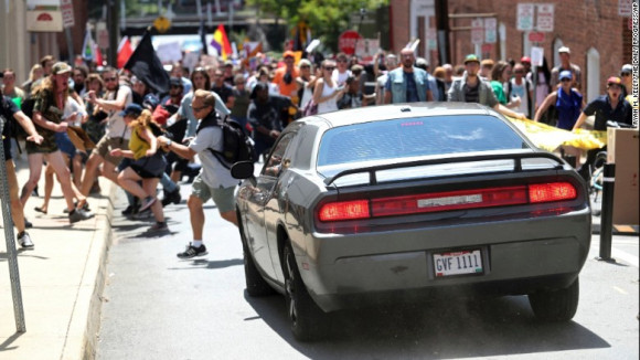 Car driving into counterprotesters in Charlottesville, CA August 12, 2017. Source CNN.