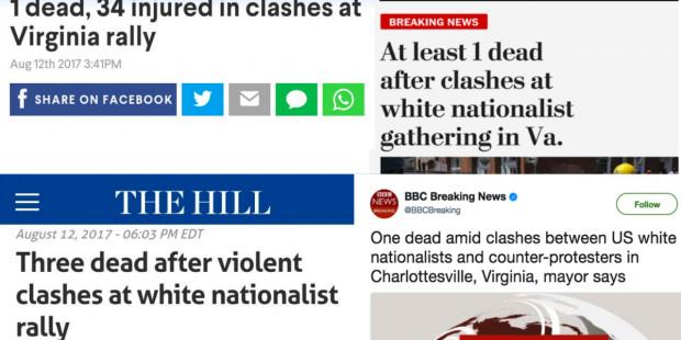 Charlottesville clash headlines August 12 2017 by FAIR