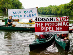 Kayactivst Potomac Pipeline protest by Anne Meador two signs close up
