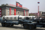 A submarine missile is paraded across Kim Il Sung Square during a military parade in Pyongyang, North Korea, in April to celebrate the 105th birth anniversary of Kim Il Sung, the country's founder and grandfather of current ruler Kim Jong Un. (Wong Maye-E / AP)