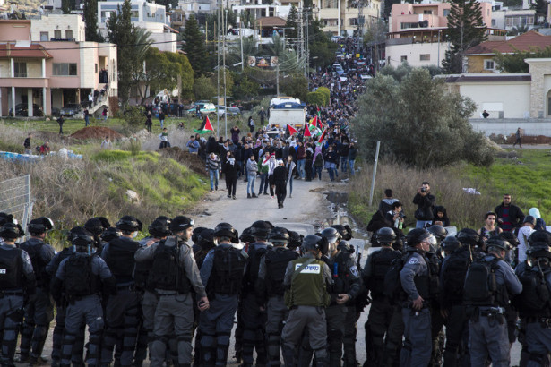 Palestinian citizens of Israel march against home demolitions in Arara, a town in the Wadi Ara region that Netanyahu wants transferred to a Palestinian entity, January 2017. Keren Manor ActiveStills
