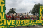 Landowners and environmentalists gathered in Lincoln, Nebraska, on Sunday to protest TransCanada's proposed Keystone XL pipeline. (Photo: @BoldNebraska/Twitter)