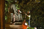 The statue of former U.S. Chief Justice Roger Taney, located outside of the Maryland State House in Annapolis, was removed early Friday.