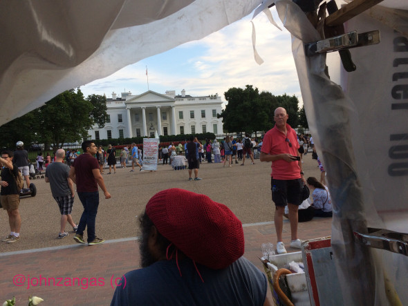 View of the White House from inside the Peace Vigil tent. Photo: John Zangas