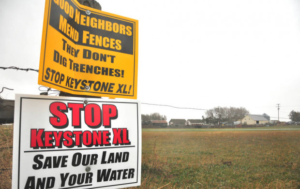 Nebraska landowners have been pushing back against TransCanada's construction plan and any use of eminent domain to secure land for the route. Credit: Guillaume Meyer/AFP/Getty Images
