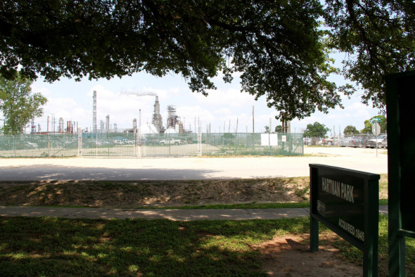 A Valero refinery sits directly across the street from the entrance to Hartman Park in Manchester, in east Houston.Courtesy of Yvette Arellano | t.e.j.a.s. & Union of Concerned Scientist Center for Science and Democracy
