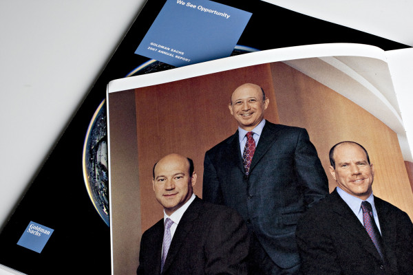 The Goldman Sachs Group Inc. executives, from right, Gary Cohn, president and co-chief operating officer, Lloyd Blankfein, chairman and chief executive officer, and Jon Winkelreid, president and co-chief operating officer, appear in a 2006 annual report arranged for a photograph in New York, on June 16, 2008. Daniel Acker/Bloomberg/Getty Images