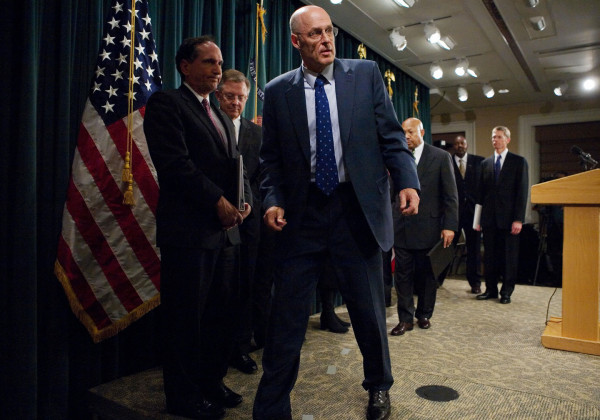 U.S. Treasury Secretary Henry M. Paulson steps off the stage Dec. 6, 2007 after a press conference on subprime mortgage loans at the Treasury Department in Washington, D.C. Mandel Ngan/AFP/Getty Images
