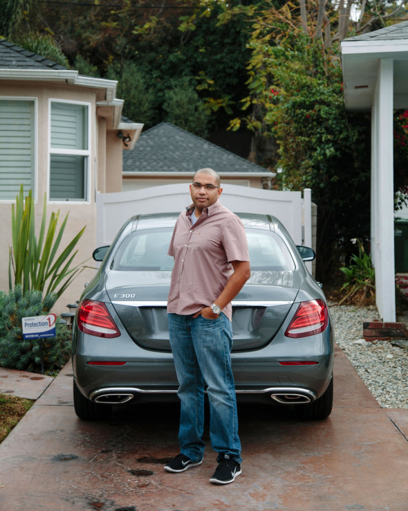 Pernell Cox insured his Mercedes with Safeco, which charges 13 percent more in View Park, California, the affluent minority neighborhood where he lives, than in Woodland Hills, a predominantly white suburb. (Kendrick Brinson for ProPublica)