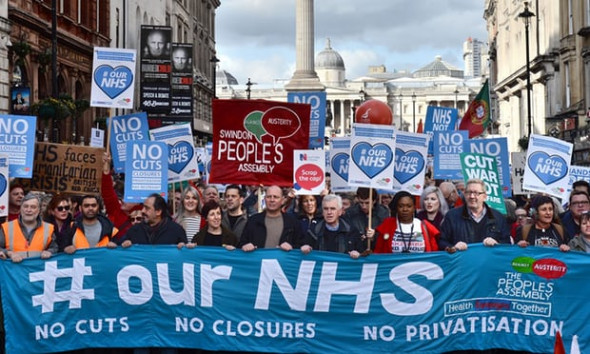 There have been a number of protests over cuts to the NHS in recent years. Photograph: Victoria Jones/PA