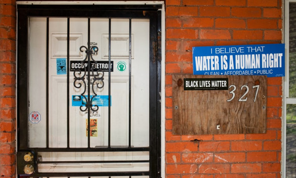 A home in Detroit's North End neighborhood whose water has been shut off. Photograph: Garrett MacLean for the Guardian