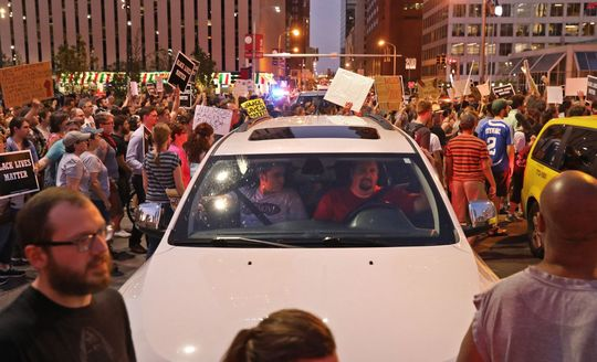Protesters rally in downtown St. Louis as fans arrive for a Billy Joel concert at Busch Stadium on Thursday, Sept. 21, 2017. The area has seen protests since former police officer Jason Stockley was declared innocent in the 2011 shooting death of Anthony Lamar Smith. Photo by Christian Gooden, cgooden@post-dispatch.com. Christian Gooden