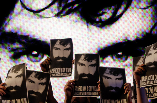 Top photo | Demonstrators hold photos of missing activist Santiago Maldonado, during a protest at Plaza de Mayo in Buenos Aires, Argentina, Friday, Sept. 1, 2017. Human rights groups say Maldonado went missing a month ago, after Argentine border police captured him during an operation against Mapuche Indians who were blocking a highway in Argentina's Patagonia. (AP/Natacha Pisarenko)