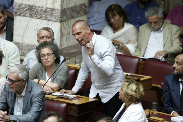 Former Greek Finance Minister Yanis Varoufakis speaks during a parliamentary session in Athens, Friday, Aug. 14, 2015. (AP/Yannis Liakos)