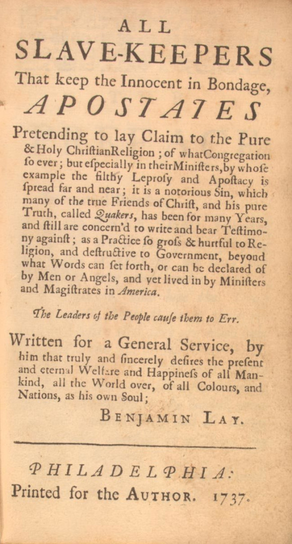 The front page of Lay's 1737 tract omits the name of his publisher, Benjamin Franklin. PUBLIC DOMAIN