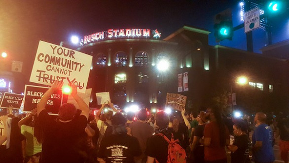 Busch Stadium, St. Louis with protesters. Photo by Danny Wicentowski.