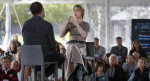 Chelsea Manning (center) is interviewed by filmmaker Eugene Jarecki (left) on Sunday, during a forum, in Nantucket, Mass. | Steven Senne/AP Photo