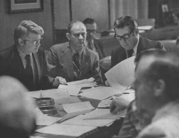 Colorado Gov.-elect Dick Lamm, left, and Gov. John Vanderhoof, right, discuss how to spend Comprehensive Employment and Training Act (CETA) funds on veterans in 1975.  Duane Howell/The Denver Post via Getty Images