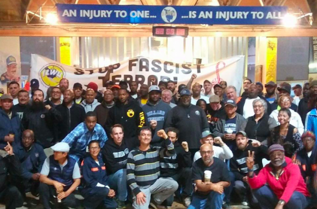 ILWU Local 10 members gather to denounce fascism and white supremacy. (Courtesy of Ed Ferris, ILWU Local 10 President)