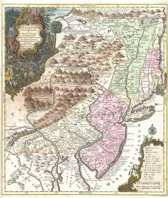 An 18th-century map shows the Northeast in Benjamin Lay's time. PUBLIC DOMAIN