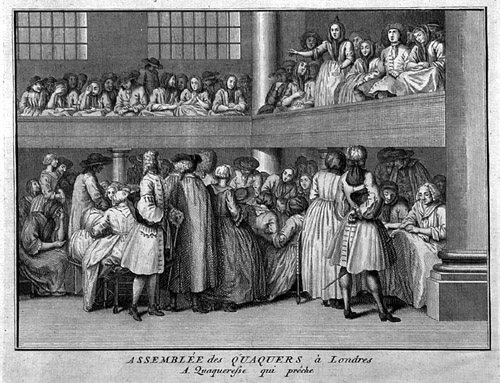 An 18th-century engraving shows the ordinary proceedings of Quaker meeting houses. These were often Lay's sites of choice for protest. PUBLIC DOMAIN