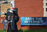 Save The Internet with puppet 5-18-07 FCC net neutrality protest