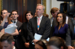 Eric Schmidt, Google's executive chairman and former chair of the New America Foundation think tank, at a White House meeting in June. (Susan Walsh/AP)