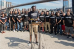 More than 80 members of New York City law enforcement unions held a rally August 19 in support of Colin Kaepernick. Credit – Theodore Parisienne/For New York Daily News