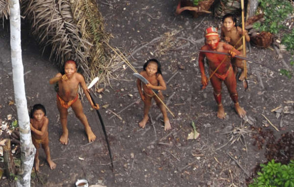 Uncontacted Indians in the Brazilian Amazon, filmed from the air in 2010. © G.Miranda/FUNAI/Survival