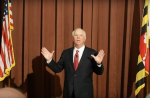 Maryland Senator Ben Cardin responding to criticism of his support for the Israel Anti-Boycott Act during a town hall meeting on August 31, 2017.
