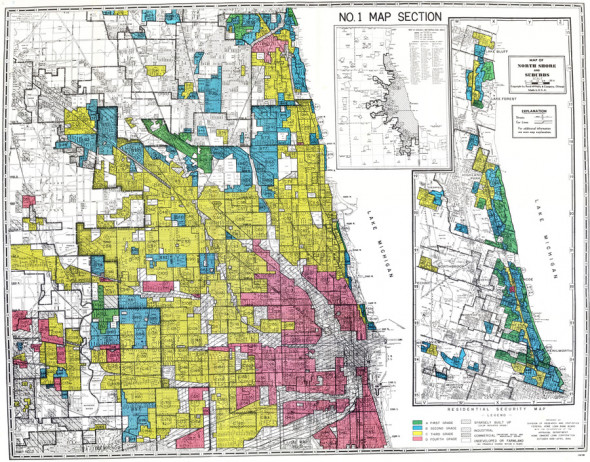 """On this federal Home Owners' Loan Corporation map from 1940, areas in Chicago were graded on their desirability — from green for """"best,"""" to red for """"hazardous."""" Source: """"Mapping Inequality: Redlining in New Deal America,"""" by Robert K. Nelson, LaDale Winling, Richard Marciano, Nathan Connolly, et al."""