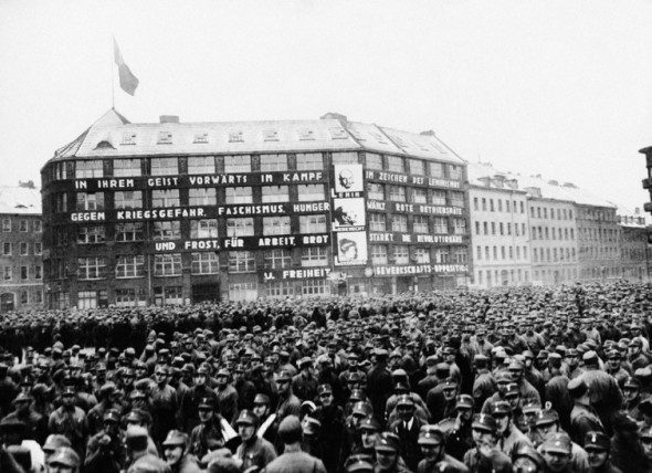 Thousands of Nazi storm troops demonstrate in a Communist neighborhood in Berlin on Jan. 22, 1933. Thirty-five Nazis, Communists and police were injured during clashes. AP Photo