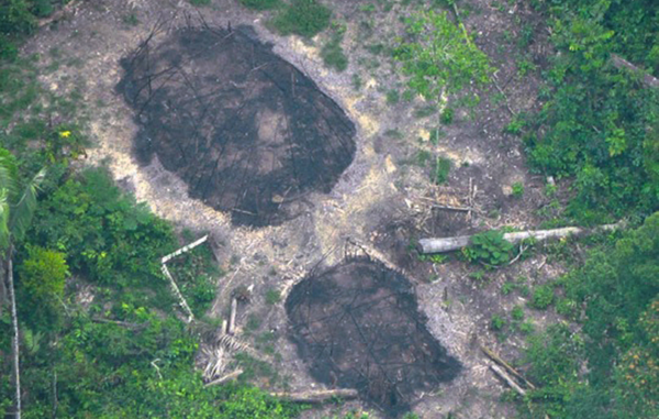 Evidence of an attack? Burnt communal houses of uncontacted Indians, seen in December 2016, could be signs of another massacre in the Uncontacted Frontier. © FUNAI