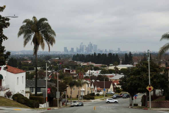 """View Park, sometimes called the """"Black Beverly Hills,"""" is an affluent neighborhood in South L.A. ProPublica's analysis shows that some auto insurers charge more in predominantly minority View Park than in the largely white suburb of Woodland Hills, even though the neighborhoods have similar accident costs. (Kendrick Brinson for ProPublica)"""