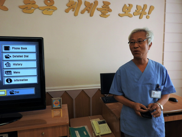"Dr. So-Yung (60) works in the tele-consultation department of the Children's Hospital. ""We have contacts with provincial-level and county-level hospitals, mostly about children's diseases or illnesses. When they have difficulties with diagnoses, they request consultations from this hospital,"" he explained. ""I cannot suppress my anger about the sanctions imposed by the U.S. and other countries. Yet, generally, it doesn't affect our health system. We have a solid health system, we are giving proper treatment to people and are producing our own medicines."""