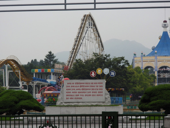 At the Kaeson Youth Amusement Park inside the city one night, I interacted with people and tried out some of the rides. The park was packed with families and children, including a group of 14-year-olds who had visited multiple times. A schoolteacher from Nampo City said she frequently brings her students to visit. A young man next to me on one of the rides filmed with his mobile. With an entrance fee of 200 North Korean Won (about US $0.22), the lines were long. Photo: A second amusement Park outside of Pyongyang.