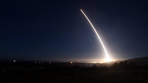An unarmed Minuteman III intercontinental ballistic missile launches during an operational test on in 2016 at Vandenberg Air Force Base, California, for a target area 4,200 miles away to the Kwajalein Atoll in the Marshall Islands in the Pacific Ocean. (U.S. Air Force via AP)