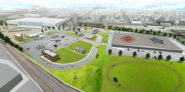 COURTESY OF CITY HALL A rendering of the planned police and fire department training facilities to be located in West Garfield Park