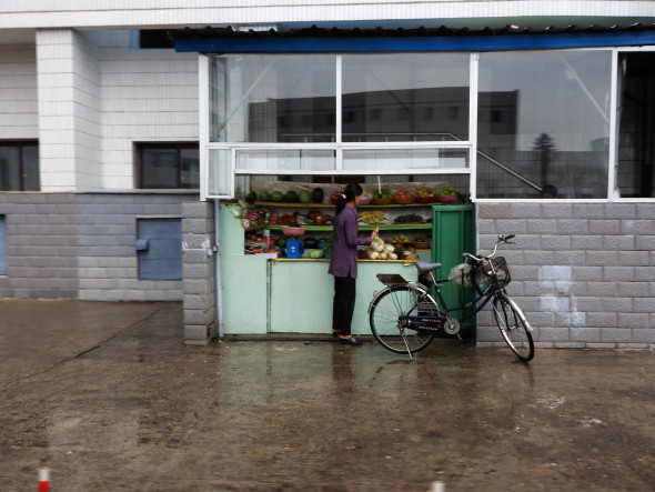 Fruit stand seen in Pyongyang. Small stands this size also sell snack food, sweets, water, sodas, beer, and ice cream.
