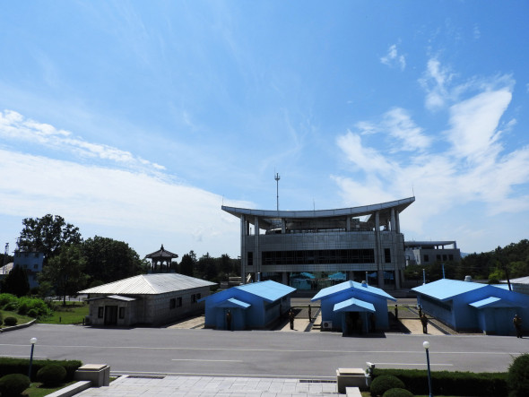 "At Panmunjom, near the Demilitarized Zone (DMZ), one learns the North Korean side of history, including the over 8,400 ceasefire violations by the United States. One of many notable such violations was the espionage vessel, the USS Pueblo, now on display outside Pyongyang's war museum. North Koreans on several occasions proposed to have peace treaty talks, with ""no positive response from the U.S. side."""
