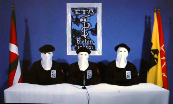 Video image from 2011 of Basque separatists Eta announcing a 'permanent, verifiable ceasefire'. Photograph: Alfredo Aldai/EPA