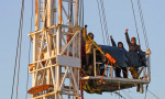 Anti-fracking protesters on the rig at Kirby Misperton, North Yorkshire. Photograph: Yorkshire's Fracking Frontline/PA