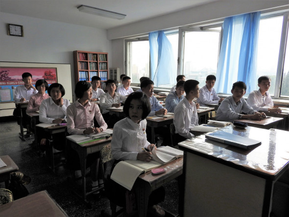 "In Pyongyang Middle School. Students spoke in English of the universal desire for peace, one girl urging people to struggle for peace. On the issue of North Korea's weapons, one teenage boy said: ""We make intercontinental ballistic rockets, not for invading other countries but for our national defense. To protect one's country, the country must have a powerful defense."""