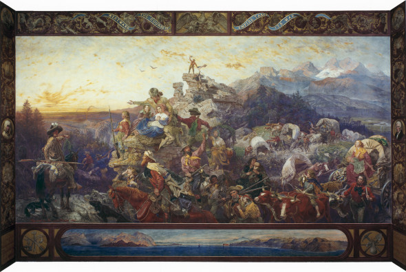 """On the Prospect of Planting Arts and Learning in America."" Emanuel Leutze's mural celebrates the western expansion of the United States. It is located in the House wing of the US Capitol building, on the west stairway."