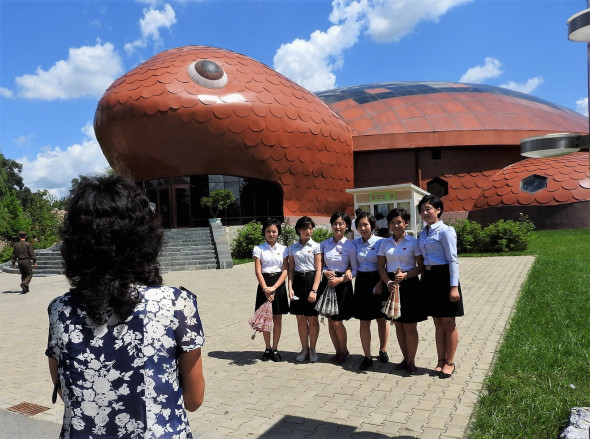 A group of schoolgirls pause for a portrait photo at Pyongyang's zoo. Watch a clip from the zoo.