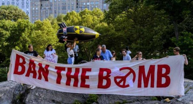 Members of the International Campaign to Abolish Nuclear Weapons traveled to New York City in July to promote an anti-nuclear treaty at the United Nations headquarters. (Photo: Ralf Schlesener/ICAN)