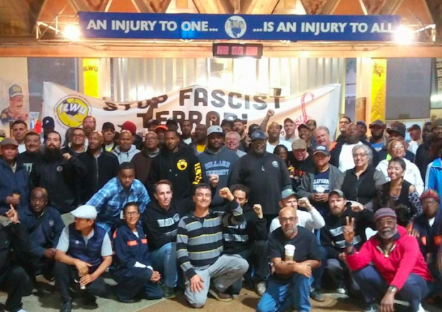 ILWU Local 10 members gather to denounce fascism and white supremacy. Courtesy of Ed Ferris, ILWU Local 10 President.