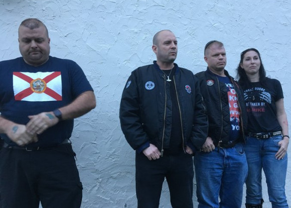 Jeff Schoep, second from the left, is head of the National Socialist Movement, a neo-Nazi group. He and three other NSM members met HuffPost outside their hotel in the Nashville area. By Christoper Mathias for Huff Post.