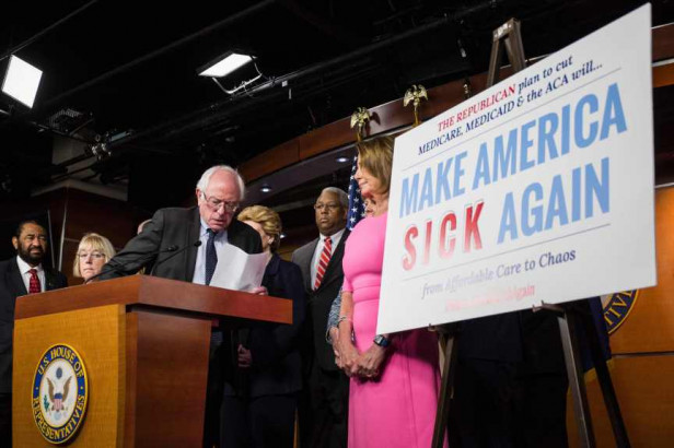 This file photo taken in January shows Sen. Bernie Sanders (I-VT) taking the podium before speaking during a press conference discussing Republican attempts to dismantle Medicare, Medicaid, and The Affordable Care Act on Capitol Hill in Washington, DC. / AFP PHOTO / ZACH GIBSONZACH GIBSON/AFP/Getty Images