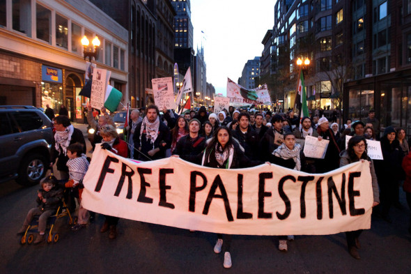 File photo of a pro-Palestine rally in downtown Boston. (Tess Scheflan/Activestills.org)